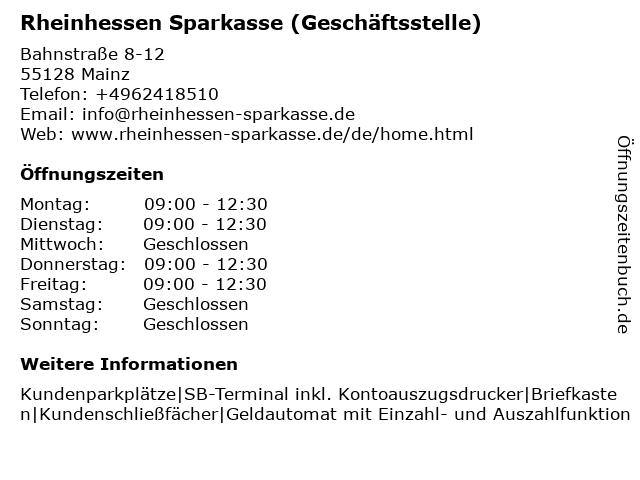 Sparkasse Mainz - Hauptgeschäftsstelle Bretzenheim in Mainz: Adresse und Öffnungszeiten