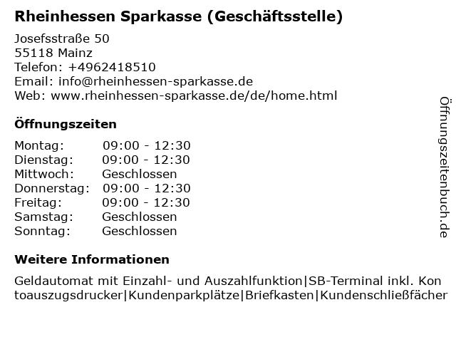 Sparkasse Mainz - Geschäftsstelle Hindenburgstraße in Mainz: Adresse und Öffnungszeiten