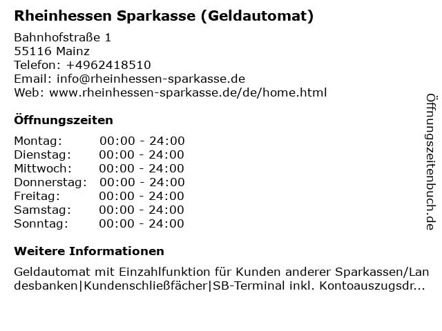 Sparkasse Mainz - (Geldautomat Hauptgeschäftsstelle) in Mainz: Adresse und Öffnungszeiten