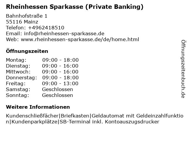 Sparkasse Mainz in Mainz: Adresse und Öffnungszeiten