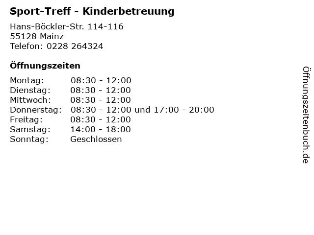 Sport-Treff - Kinderbetreuung in Mainz: Adresse und Öffnungszeiten