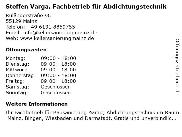 Steffen Varga, Fachbetrieb für Abdichtungstechnik in Mainz: Adresse und Öffnungszeiten