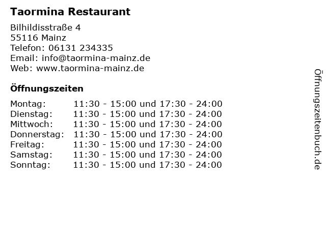 Taormina Restaurant in Mainz: Adresse und Öffnungszeiten