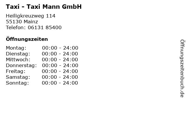 ᐅ Offnungszeiten Taxi Taxi Mann Gmbh Heiligkreuzweg 114 In Mainz