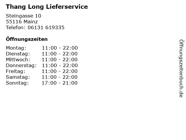 Thang Long Lieferservice in Mainz: Adresse und Öffnungszeiten