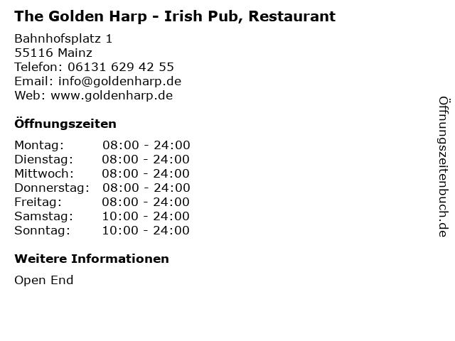 The Golden Harp - Irish Pub, Restaurant in Mainz: Adresse und Öffnungszeiten