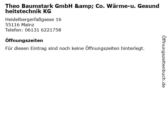 Theo Baumstark GmbH & Co. Wärme-u. Gesundheitstechnik KG in Mainz: Adresse und Öffnungszeiten