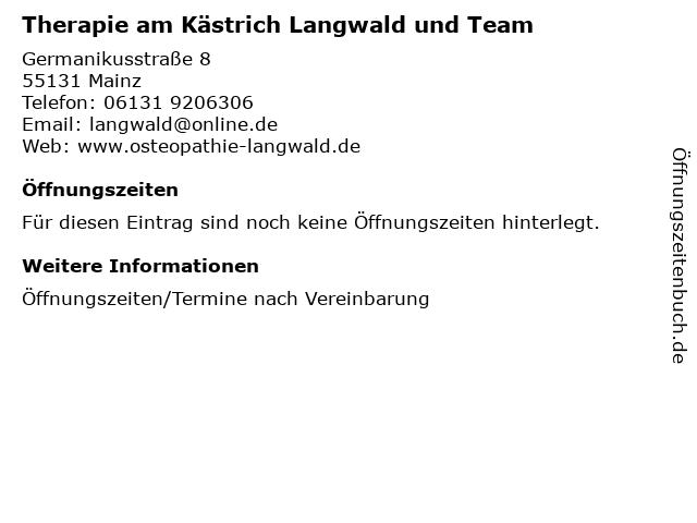 Therapie am Kästrich Langwald und Team in Mainz: Adresse und Öffnungszeiten