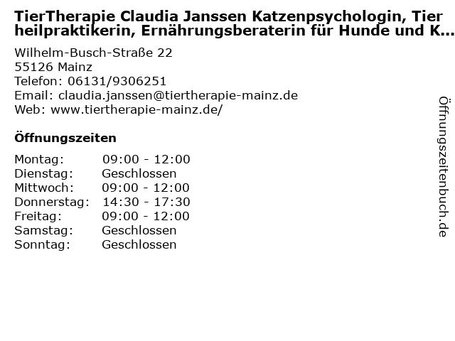TierTherapie Claudia Janssen Katzenpsychologin, Tierheilpraktikerin, Ernährungsberaterin für Hunde und Katzen in Mainz: Adresse und Öffnungszeiten