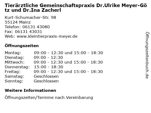 Tierärztliche Gemeinschaftspraxis Dr.Ulrike Meyer-Götz und Dr.Ina Zacherl in Mainz: Adresse und Öffnungszeiten