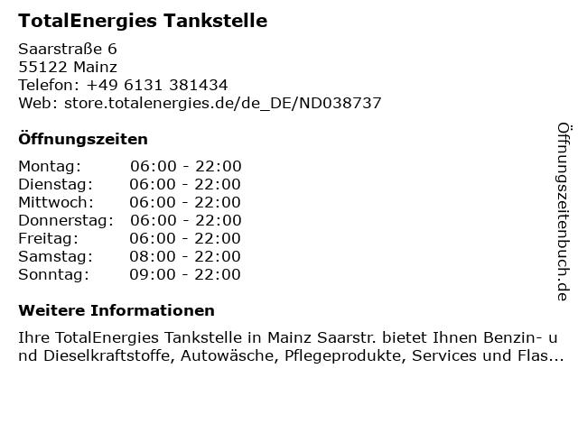 TotalEnergies Tankstelle in Mainz: Adresse und Öffnungszeiten