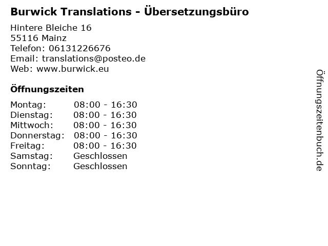 Übersetzungsbüro Burwick in Mainz: Adresse und Öffnungszeiten