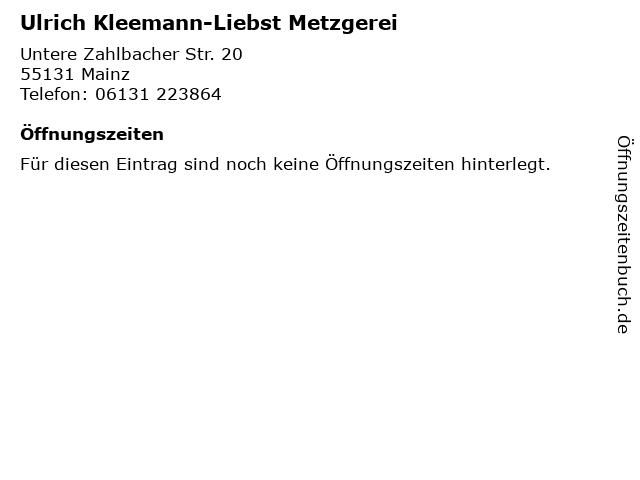 Ulrich Kleemann-Liebst Metzgerei in Mainz: Adresse und Öffnungszeiten