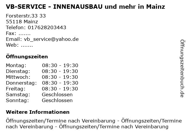 VB-SERVICE - INNENAUSBAU und mehr in Mainz in Mainz: Adresse und Öffnungszeiten