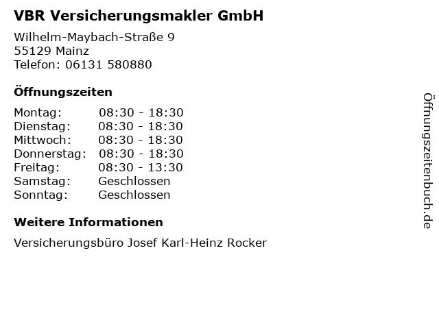 VBR Versicherungsmakler GmbH in Mainz: Adresse und Öffnungszeiten