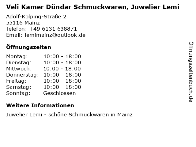 Juwelier Lemi in Mainz: Adresse und Öffnungszeiten