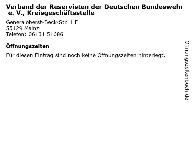 Verband der Reservisten der Deutschen Bundeswehr e. V., Kreisgeschäftsstelle in Mainz: Adresse und Öffnungszeiten