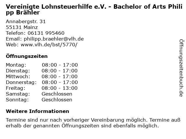 Vereinigte Lohnsteuerhilfe e.V. - Bachelor of Arts Philipp Brähler in Mainz: Adresse und Öffnungszeiten