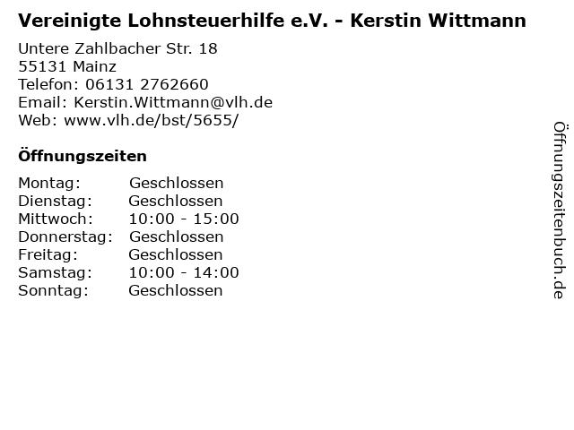 Vereinigte Lohnsteuerhilfe e.V. - Kerstin Wittmann in Mainz: Adresse und Öffnungszeiten