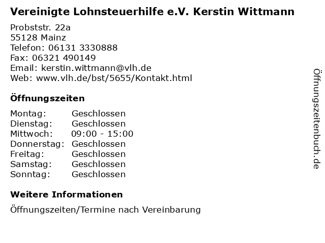 Vereinigte Lohnsteuerhilfe e.V. Kerstin Wittmann in Mainz: Adresse und Öffnungszeiten