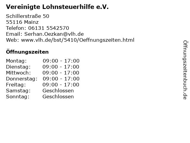 Vereinigte Lohnsteuerhilfe e.V. in Mainz: Adresse und Öffnungszeiten