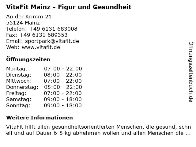 VitaFit Mainz - Figur und Gesundheit in Mainz: Adresse und Öffnungszeiten