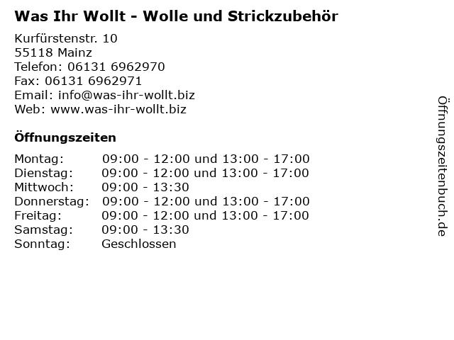 Was Ihr WOLLt... in Mainz: Adresse und Öffnungszeiten