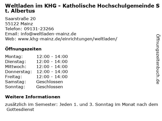 Weltladen im KHG - Katholische Hochschulgemeinde St. Albertus in Mainz: Adresse und Öffnungszeiten