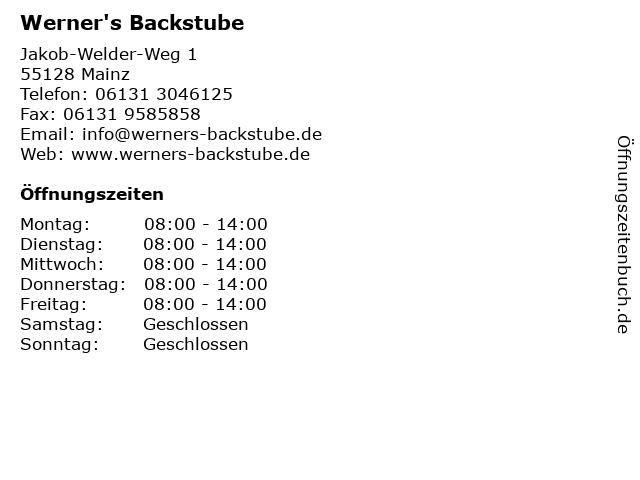 Werner's Backstube in Mainz: Adresse und Öffnungszeiten