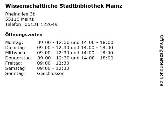 Wissenschaftliche Stadtbibliothek Mainz in Mainz: Adresse und Öffnungszeiten