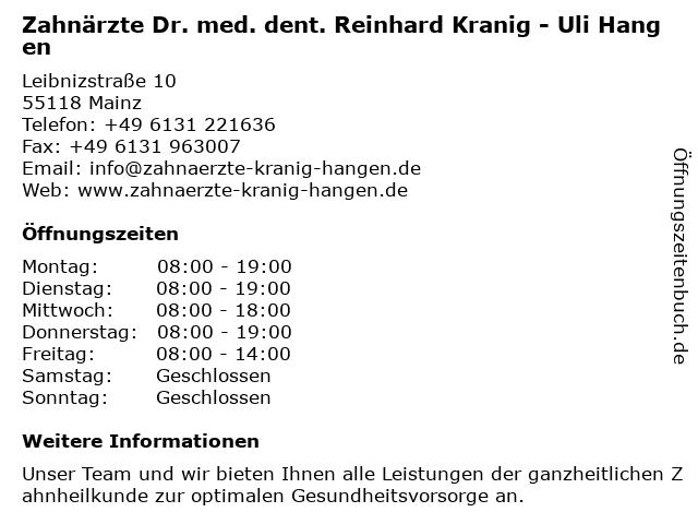 Zahnärzte Dr. med. dent. Reinhard Kranig - Uli Hangen in Mainz: Adresse und Öffnungszeiten