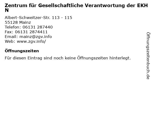 Zentrum für Gesellschaftliche Verantwortung der EKHN in Mainz: Adresse und Öffnungszeiten