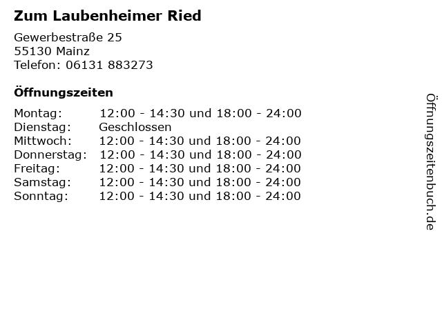 Zum Laubenheimer Ried in Mainz: Adresse und Öffnungszeiten
