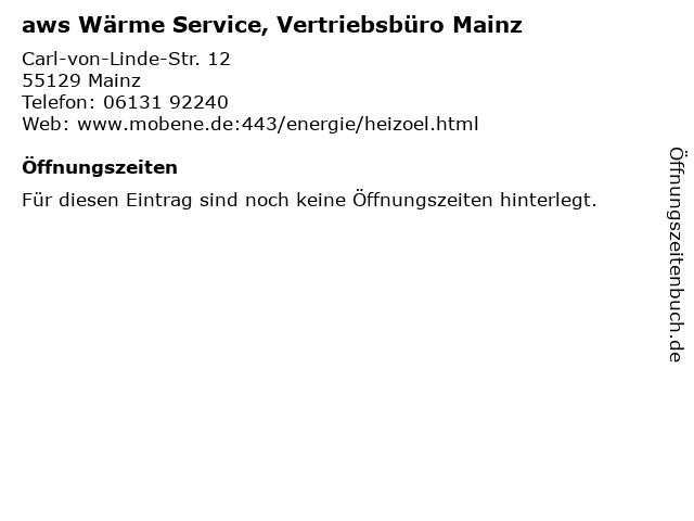 aws Wärme Service, Vertriebsbüro Mainz in Mainz: Adresse und Öffnungszeiten