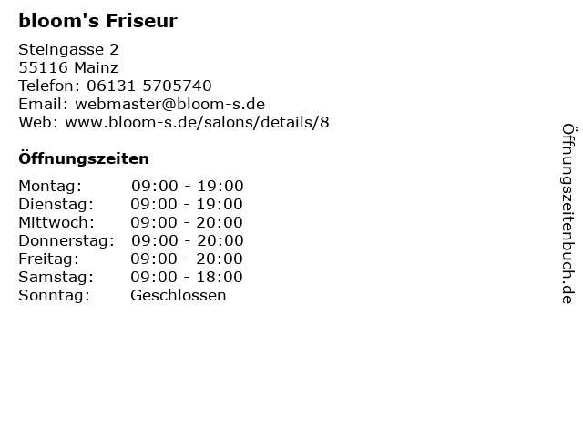 ᐅ öffnungszeiten Blooms Friseur Steingasse 2 8 In Mainz