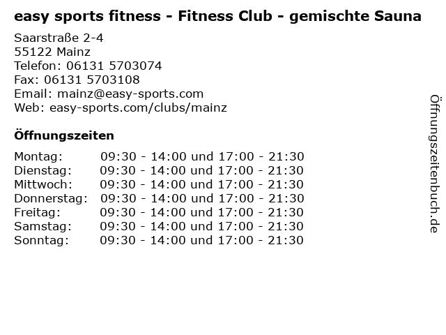 easy sports fitness - Fitness Club - gemischte Sauna in Mainz: Adresse und Öffnungszeiten