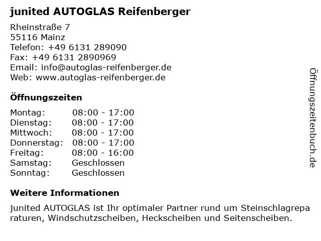 junited AUTOGLAS Reifenberger in Mainz: Adresse und Öffnungszeiten