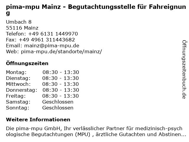 pima-mpu GmbH in Mainz: Adresse und Öffnungszeiten