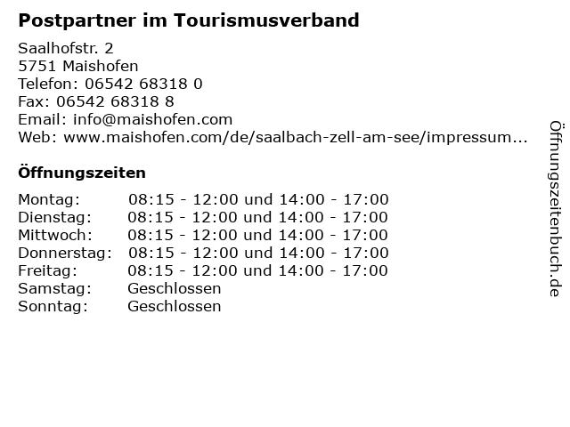 Postpartner im Tourismusverband in Maishofen: Adresse und Öffnungszeiten