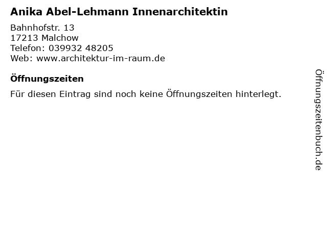 Anika Abel-Lehmann Innenarchitektin in Malchow: Adresse und Öffnungszeiten