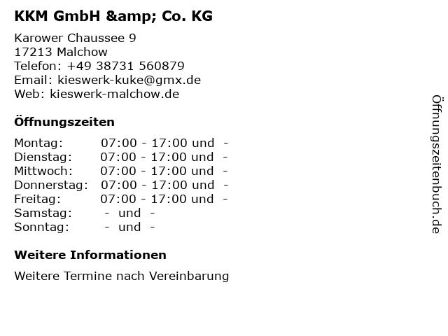KKM GmbH & Co. KG in Malchow: Adresse und Öffnungszeiten