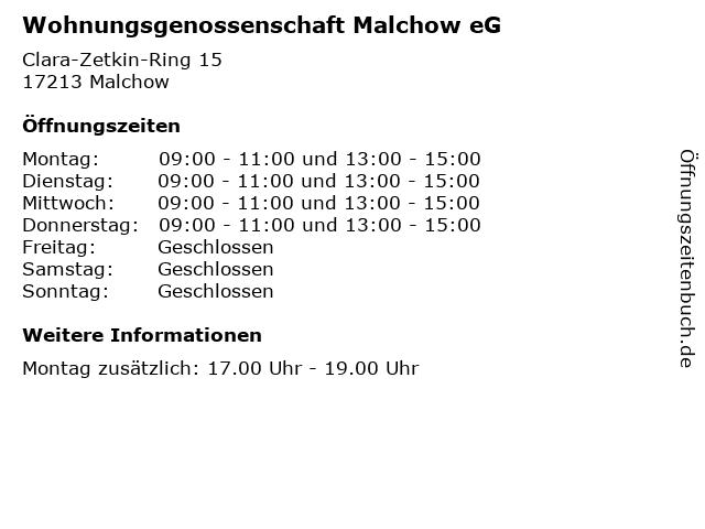 Wohnungsgenossenschaft Malchow eG in Malchow: Adresse und Öffnungszeiten