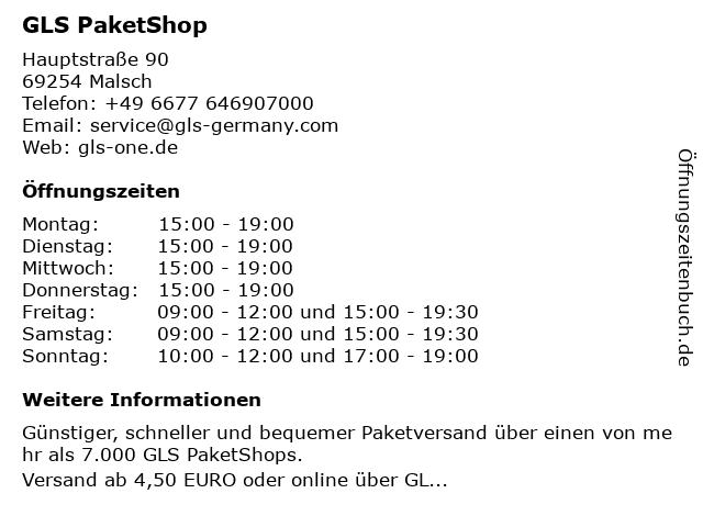 GLS PaketShop in Malsch: Adresse und Öffnungszeiten