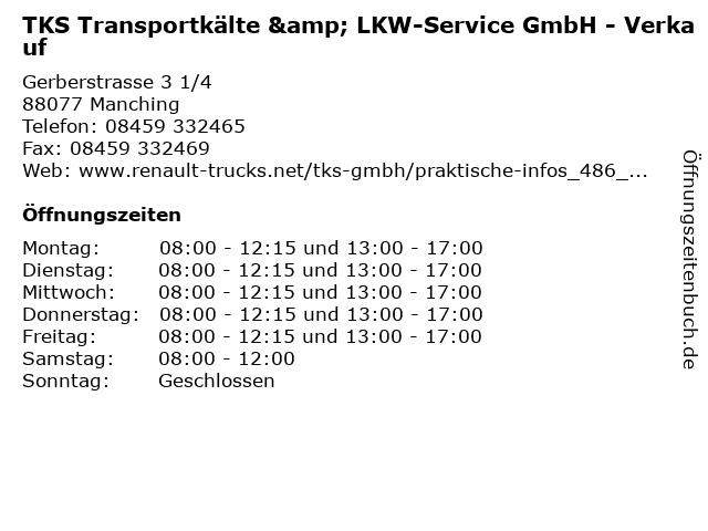 TKS Transportkälte & LKW-Service GmbH - Verkauf in Manching: Adresse und Öffnungszeiten