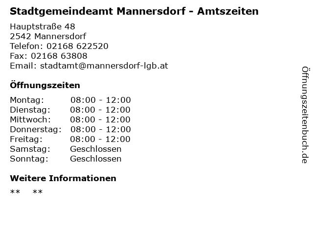 Stadtgemeindeamt Mannersdorf - Amtszeiten in Mannersdorf: Adresse und Öffnungszeiten