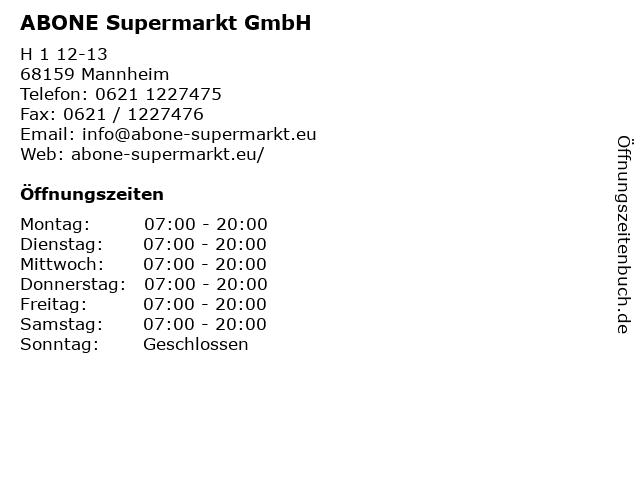 ABONE Supermarkt GmbH in Mannheim: Adresse und Öffnungszeiten