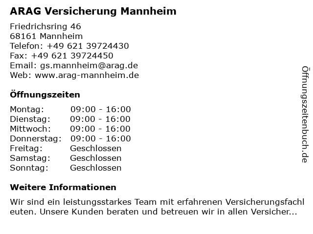 ARAG Versicherung Mannheim in Mannheim: Adresse und Öffnungszeiten
