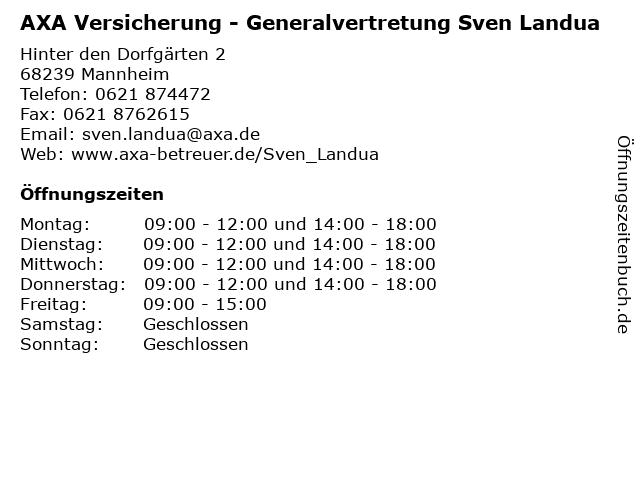 AXA Versicherung - Generalvertretung Sven Landua in Mannheim: Adresse und Öffnungszeiten