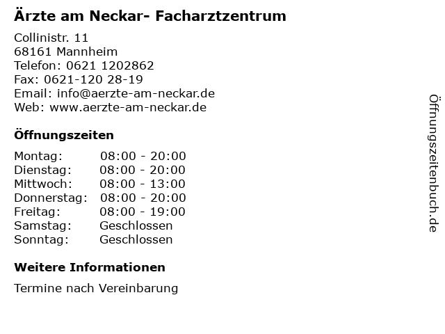 Ärzte am Neckar- Facharztzentrum in Mannheim: Adresse und Öffnungszeiten