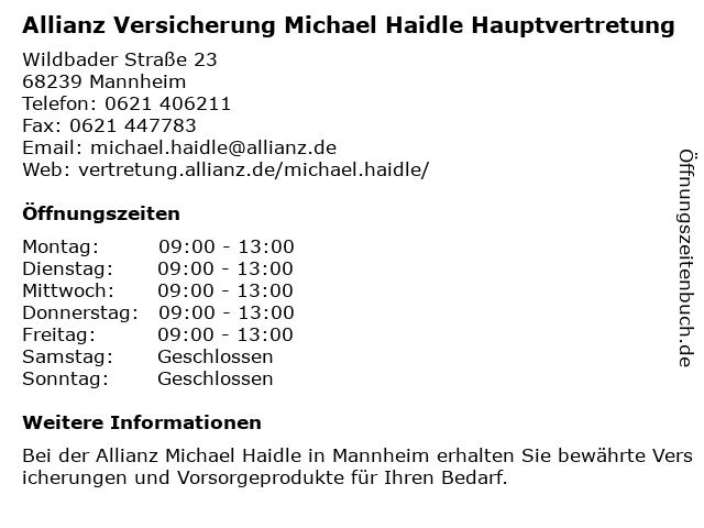 Allianz Vertretung Michael Haidle in Mannheim: Adresse und Öffnungszeiten
